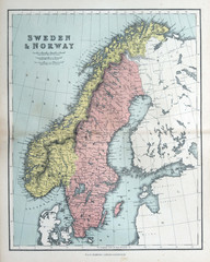 Old map of Sweden & Norway, 1870