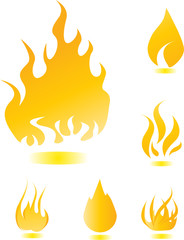 Yellow glossy fire icons for your design