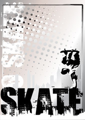 skateboard silver poster background 1