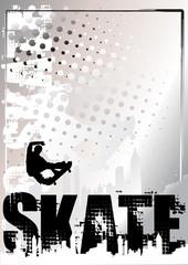 skateboard silver poster background 2