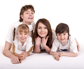 Happy family. Group people and children.