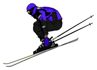 Ski Jumper on White Background