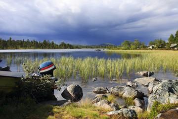 take a boat at Lake Rogen (Sweden)