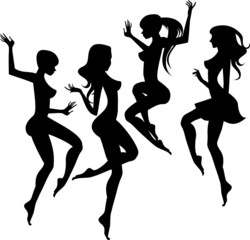Abstract silhouettes of  jumping girls