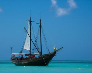 Ship at anchor in Caribbean