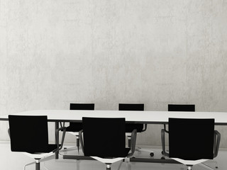 Chairs and Office Table to face a blank white wall