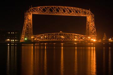late night Duluth aerial bridge
