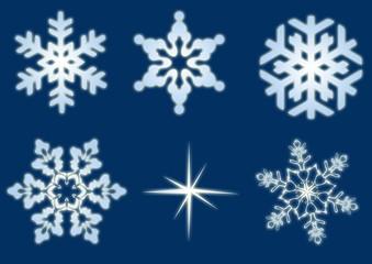 Eiskristalle und Schneeflocken