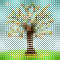 Autumn tree as art 3d ball illustration