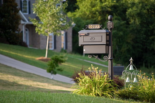Old-styled mailbox with ornament