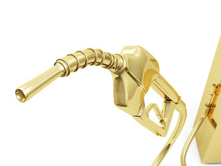 Isolated Golden Gas Pump Nozzle.