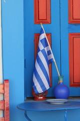 Greece flag with blue window