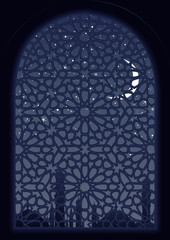 Classic arab window view at midnight.