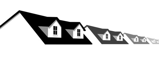 Home Row Houses Border with Dormer Roof Windows