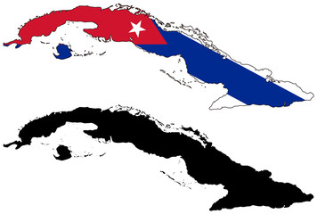 vector  map and flag of cuba
