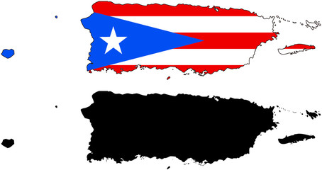 vector  map and flag of puerto