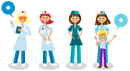 Happy doctors with healthy kid, Medical staff - Vector Surgeon,