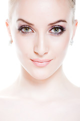 attrative smiling young woman with professional make-up