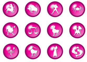 pink sternzeichen buttons - horoskop