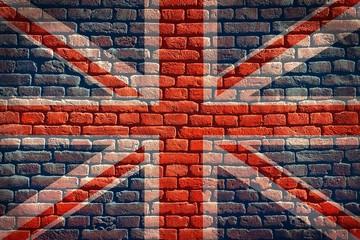 Grunge British flag on wall