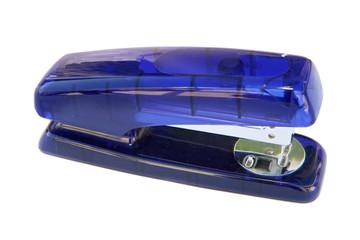 Blue plastic stapler isolated