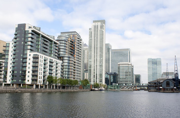 High rise buildings by the riverside