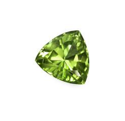 Green olivine, trillion cut gem stone