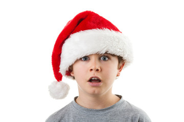 Kid in disguise Santa Claus isolated on white background