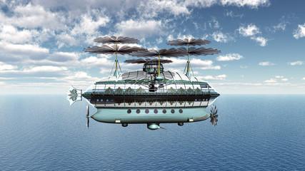 Luftschiff über dem Ozean