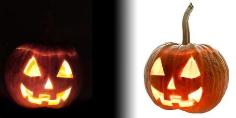 Two Halloween pumpkin