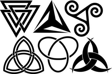 six triangular symbols