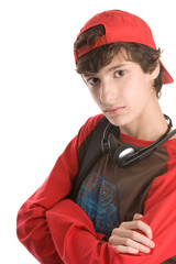 Teenage boy with arms crossed