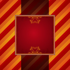 red striped background with decorative ornaments