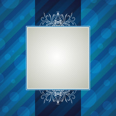 blue striped background with decorative ornaments