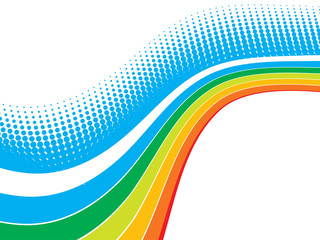 rainbow wave halftone