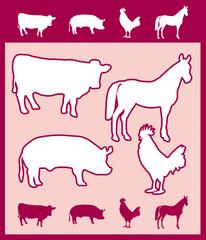 Silhouettes vectorielles d'animaux de ferme