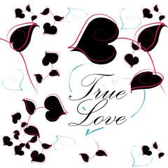 Valentine True Love greeting card, invitation, poster. Vector he