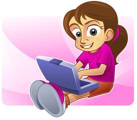 Happy girl blogging