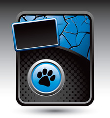 Paw print on blue and black halftone and cracked ad