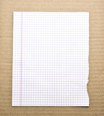 Blank note paper background on the cardboard