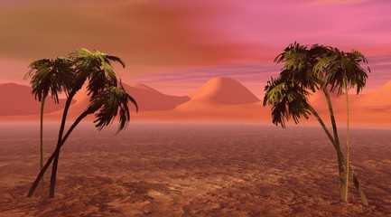 An island with two palm trees on a pink landscape