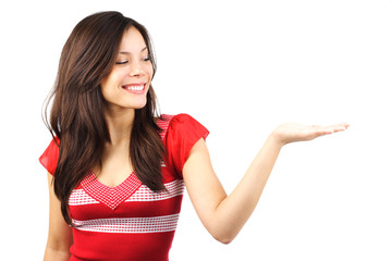 Leinwandbilder - Woman showing your product