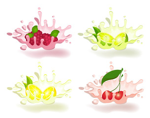 yoghurt with fresh fruit on a background for design