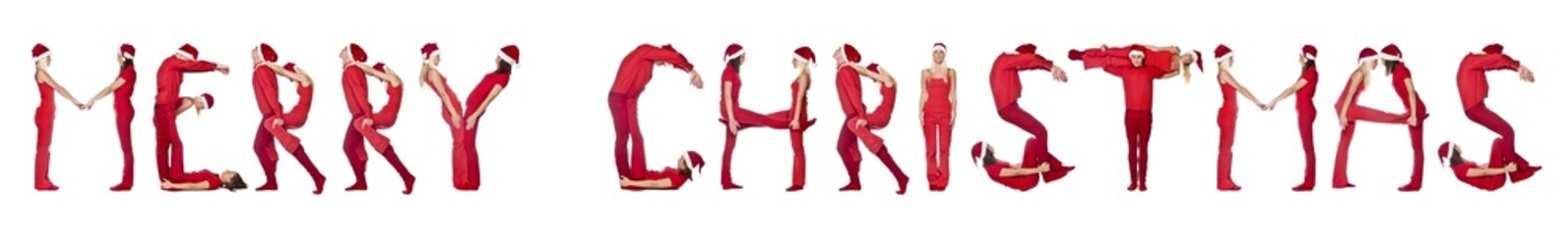 Group of red dressed people forming the phrase 'Merry Christmas'