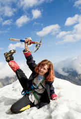 Red-haired mountaineer girl