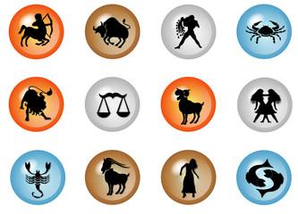 sternzeichen buttons - horoskop waaser - feuer- erde- luft