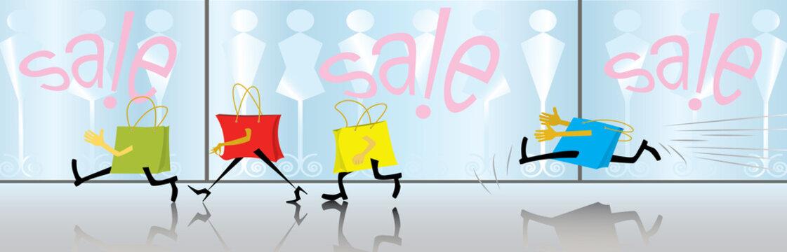 Cartoon motley bags are shopping spree. Sale. (vector,CMYK)