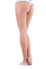 Rückseite von Frau in Unterwäsche