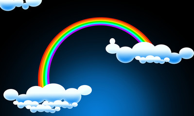 Rainbow with clouds and sky