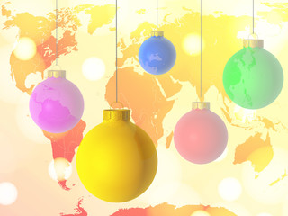 colourful christmas balls and map of the world
